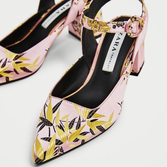 47dedd3dd55 Zara Embroidered jacquard Block Heel Shoes